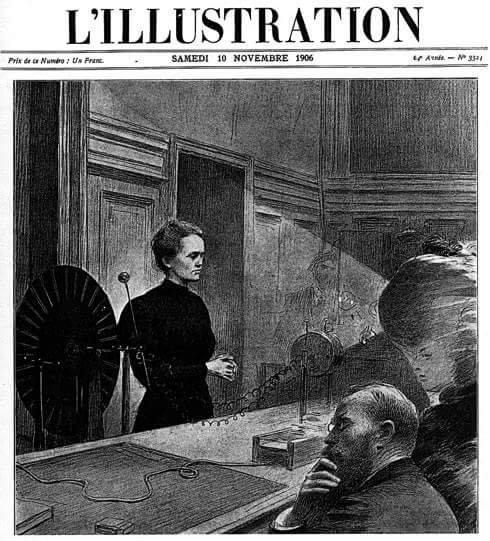 Portada del diario L'Illustration del 10 de noviembre de 1906. Fuente: https://virginiagasull.com/nicole/index.php/2019/05/10/marie-curie-primera-clase-en-la-sorbona-1916/.